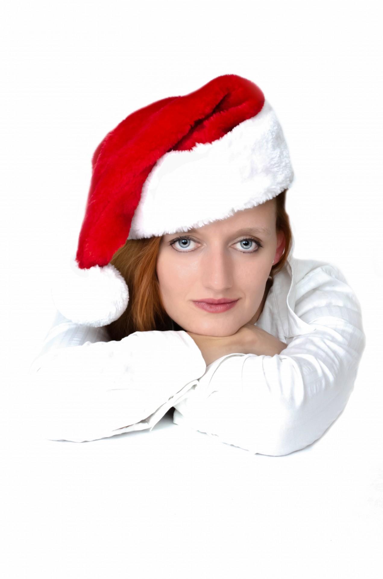 woman-and-santa-claus-hat