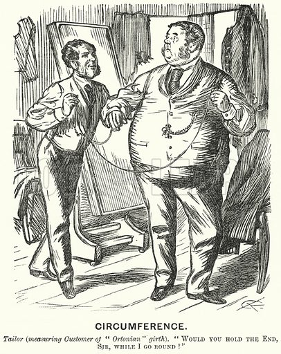 Punch cartoon: Circumference - fat man at a tailor's shop